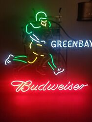 Budweiser Beer Green Bay Packers Player Running Motion Moving Neon Light Up Sign