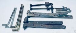 4 Cast Iron Barn Door Strap Hinges 15 - 19 + Attaching Hardware / Forge