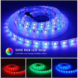 16ft 32ft Flexible 5050 Rgb Led Smd Strip Light Remote Fairy Lights Room Party