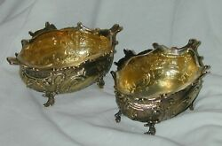 Pair Antique Sterling Silver Gilt Sweetmeat Dishes 1894 Goldsmiths Co The Best
