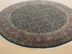 8' X 8' Navy Blue Rust Excellent Round Geometric Hand Knotted Oriental Rug Foyer
