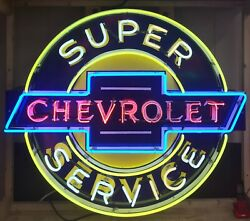Super Chevrolet Service Hand Painted Approx 4ft X 3.5ft Neon Sign Gas And Oil