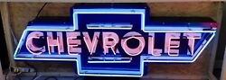 6ft X 2ft Chevrolet Bowtie Neon Sign Gas And Oil Freight Shipping Available