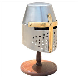 Miniature Knight Helmet With Wooden Stand Hm218-bo3