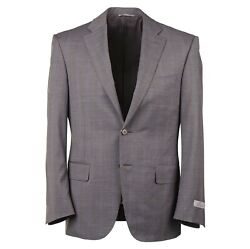 Canali Mid Gray And Sky Blue Windowpane Check Wool Suit 38s Short Eu 48c