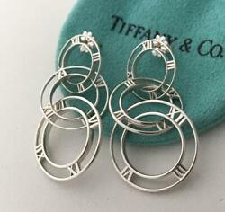 Auth And Co Atlas Triple 3 Circles Dangle Dangling Silver Earrings Rare