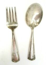 Antique Sterling Silver Baby Set Spoon And Fork Wentworth No Monogram