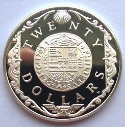 British Virgin 1985 Gold Doubloon Of 1702 20 Dollars Silver Coin,proof
