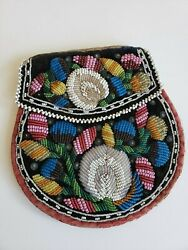 Vintage Native American Eastern Woodlands Iroquois Indian Beaded Cloth Bag