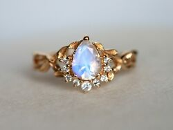 18k Gold Pear Cut Twig Moonstone And Diamond Engagement Ring Promise Gift Ring