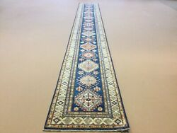 2andrsquo.7andrdquo X 20andrsquo Blue Beige Fine Hand Knotted Oriental Rug Long Runner Geometric Wool
