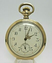 14k Gold Filled Antique Pocket Watch Open Case Working Keeping Time
