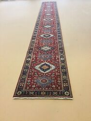 """2'.6"""" X 20' Red Blue Fine Geometric Hand Knotted Oriental Rug Long Runner Wool"""