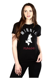 Disney Women Juniors Minnie Mouse High Low Tunic Short Sleeve Black Top NEW $9.99