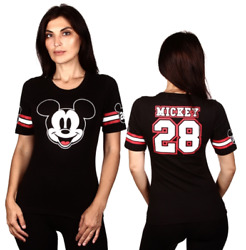 Disney Women Juniors Mickey Mouse Hockey Front Back Short Sleeve T Shirt Top NEW $9.99