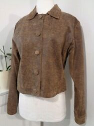 USA LEATHER Women#x27;s brown distressed leather jacket Button Front NWOT M $61.73