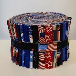 Patriotic Red White and Blue Jelly Roll 18 2.5quot; strips 100% Quilting Cotton
