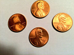 Four 4 - 1982 D Bu Lincoln Memorial Cent High Grade-red Small Date Zinc