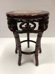 Vintage Antique Small Chinese Carved Plant Stand With Marble Inlay