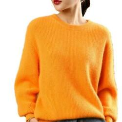 Women Round Neck Faux Cashmere Pullover Sweater Knitted Fuzzy Warm Winter Tops D