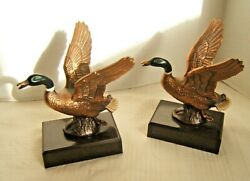 Vintage Bronze Finished Metal Duck Bookends Polychrome Paint Mallards