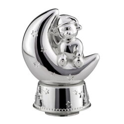 Piggy Bank Silver Plated Bear With Game Clock Money Box Christening Birthday