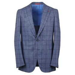 Isaia Blue Windowpane Check Donegal Wool-cashmere Suit 36r Eu 46 Domenico
