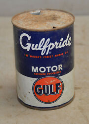 Vintage Gulf Gulfpride Motor Oil One Quart Gas Service Station Empty Tin Can