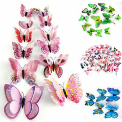 12Pcs 3D Butterfly Sticker Removable Decals Art Wall Stickers Room Home Decor US