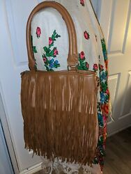 Mossimo shoulder cross BAG tan w fringe faux leather zip top strap $15.00