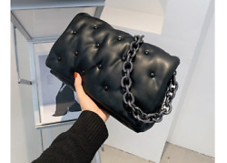 New designer bags luxury thick chains women shoulder leather bag large capacity $25.75