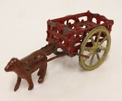Antique Metal Penny Toy France Dog And Cart Wagon 1 Tall X 2-1/2