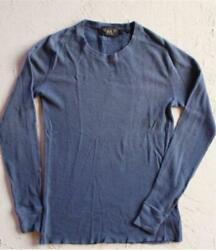 Rrl Waffle Knit Crew-neck T-shirt Long Sleeve Blue Menand039s New
