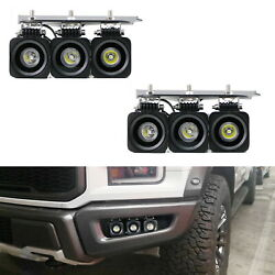 Triple 10w Cree Led Pods W/lower Bumper Mount Bracket Wire For 17-21 Ford Raptor