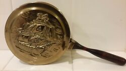 Vintage Peerage Brass Hot Pan Bed Warmer/wooden Handle Ship Made In England Euc