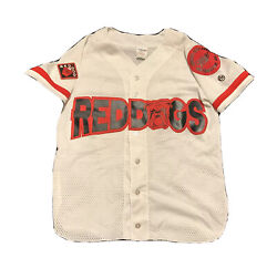 Vintage Red Dog Beer Baseball Jersey Medium Athletic Knit Miller Patch Brew Can