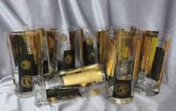 Cera Mcm 8 Highball Glasses 22k Gold Coin And Black Pattern By Bob Wallack