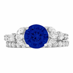 2.72 Ct Round Blue Sapphire Solid 18k White Gold Wedding Bridal Ring Band Set