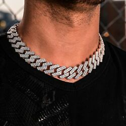 Diamond Prong Link Necklace 19mm In White Gold