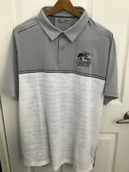 Under Armour Heatgear Menand039s Bass Pro Shops Gray/white S/s Golf Polo 2xl Nwt