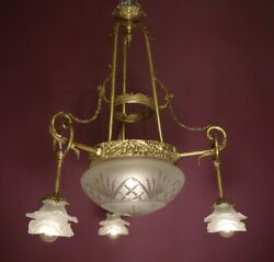 Old Charm High Antique 4 Light Brass Lamp Chandelier Satined Roses Glass Ø 24