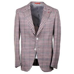 Isaia Gray And Burgundy Layered Check Wool-cashmere-silk Sport Coat 38r Eu 48