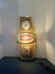1963 Gettelman Beer Tel A Sign Light Up Glass Thermometer Calender Sign