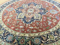 8and039 X 8and039 Round Rust Navy Blue Very Fine Geometric Oriental Rug Hand Knotted