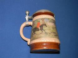 M/r Marzi And Remy German Lidded Beer Stein Pewter Lid The Hunt - Fox Hunt Germany