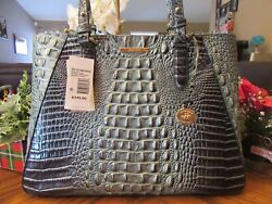 New Brahmin Croco Leather Obsidian Melbourne MD Irene Tote Satchel Purse $345 $184.75