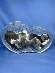 Vintage Mikasa Rosemont Double Heart Picture Frame Glass Crystal With Free Stand