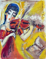 Hrasarkos 1975 - Acrylic Oil Painting On Paper 40x50 Cm Violinist