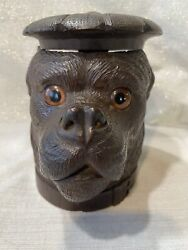 Antique Black Forest Carved Dog Humidor-with Glass Eyes-stamped On Eb--on Sale