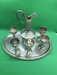 Antique Solid Silver Islamic Set Of 5 Hand Carved Goblets Shat Cups Tray And Jug